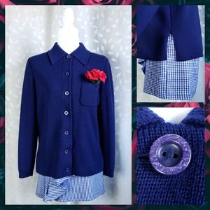 Vintage Navy Wool Collar Knit Cardigan Jacket